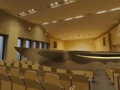 長野大学リブロホールのシーンを想定して生成した日本刀の再現CG