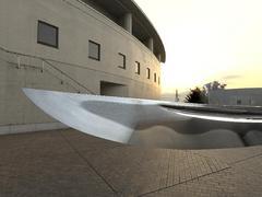 長野大学テラスのシーンを想定して生成した日本刀の再現CG