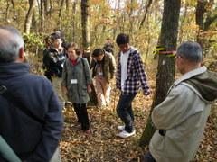 樹皮剥ぎによる昆虫誘引の効果について説明する小林紀博さん