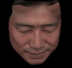 人間の顔の3DCG(上から見下ろしたもの)