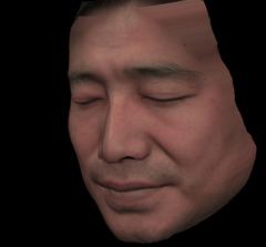 人間の顔の3DCG(左側)