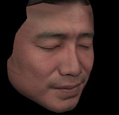 人間の顔の3DCG(右側)