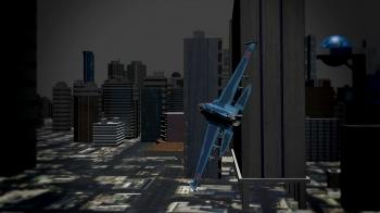 街中を飛んでいるシーン