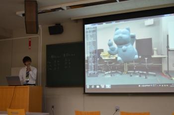 松田さん(企業情報学部 4年)の発表の様子
