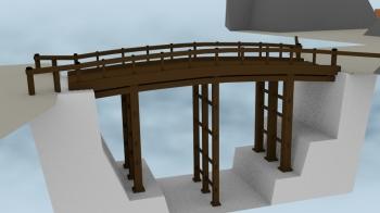 CG復元された小諸城内の橋