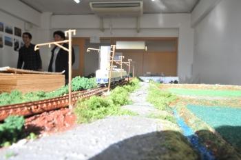鉄道同好研究会による模型のジオラマ展示